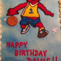 Basketball Elmo The cake is butter flavor with BC icing. Elmo is made out of rice paper with edible markers, as well as the stars. The basketball is a ring...