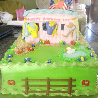 Pony Stable Cake  Pony cake made for my friends daughter. Ponys and accents made from fondant. Hearts on the roof and bucket of apples and carrots on the...