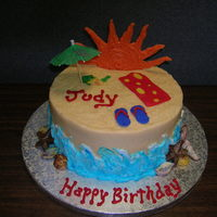 Beach Cake 2- 8 inch WASC, buttercream icing, fondant towel, sand buckets & flipflops. Chocolate shells and sun. Thanks for looking