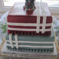 Alabama Groom's Cake 10 & 8 inch squares, iced in buttercream. Elephant & strips are fondant. Chocolate WASC. Thanks for looking!
