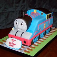 Thomas The Tank Engine For a friend's son's b-day. All fondant covered white cake.