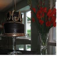 Engagement Cake Chocolate fondant and letters covered in 24K edible gold dust.