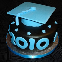 Graduation Hat Graduation hat on top of an 8'' cake, with chocolate fondant airbrushed with black. The hat is fondant (with C.M.C.) on top of...