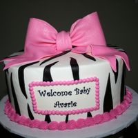 Zebra Baby Shower This was buttercream with fondant zebra stripes and bow. TFL!