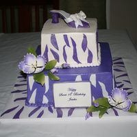 Sweet Sixteen With Stripes And Shoe This was my version of a photo given to me by the client. Sorry but I don't know who to give credit to. Buttercream with fondant...