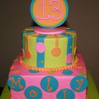 Molly's Birthday Cake This was buttercream with fondant accents. TFL!