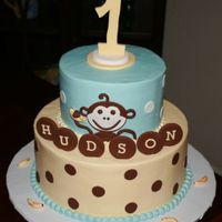 Husdon's First Birthday Monkey Cake   This was buttercream with fondant accents. Made to match invitations. TFL!
