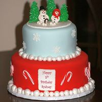 Christmas Birthday This was for my daughter's 5th birthday. She had a winter/christmas themed party. All fondant. TFL!