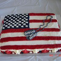 Flag Cake I made this for my brother when he enlisted.