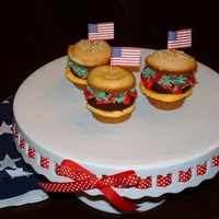 All American Hamburger Made cupcake hamburgers for the family July 4th cook-out this year! They were so much fun to make and everyone loved them. TFL!
