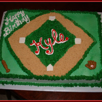 Baseball Birthday Cake Made this for my nephew that just turned 15. He's a great baseball player. Yellow cake with white buttercreme icing. Used graham...