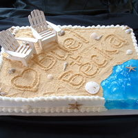 Beach Theme Bridal Shower Cake Made this cake for a client who is having a bridal shower for their granddaughter. Can you guess where they are getting married? LOL. White...
