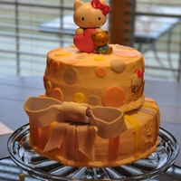 Hello Kitty Baby Shower Cake A baby shower cake for a Hello Kitty fan. Buttercream with fondant decorations. HK herself is a purchased cake topper and kitty heads are...