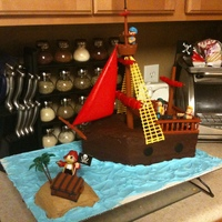 Pirate Ship, Take 2 An improvement on my previous pirate ship. Fudge and buttercream icing.