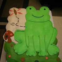 Frog Cupcake Cake Made a frog cupcake cake for a baby shower to match the linens for the nursery. Mostly buttercream with a few fondant decorations.