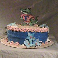 "Gator Flower Theme This cake was done for a grooms surprise ""Bridal Shower"" They got married in the keys and he loves the gators. I wish that the..."