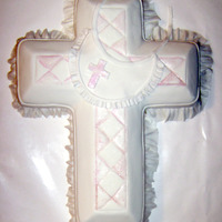 Baptism In Ruffles fondant covered cross, with baby bib and ruffles.