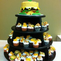 Hamburger Hamburger cupcake tower
