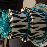 Zebra Graduation Cake Buttercream with fondant accents