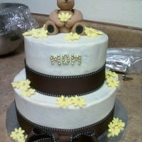 Bear Birthday Cake crusting cinnamon cream cheese icing and fondant bear and flowers