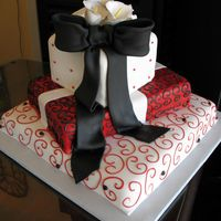 Black And Red Packages Wedding Cake Fondant icing and Bow with gumpaste calla lilies