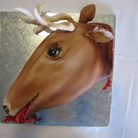 Deer Head Grooms Cake THis guy like the godfather horse head I made and wanted a deerhead for his grooms cake.It is all fondant. The antlers are on wireswww....