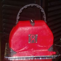 Red Fondant Purse Cake all fondant, wire covered handle