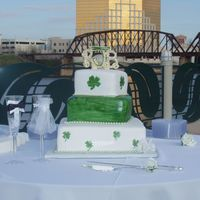 Irish Wedding Cake fondant painted with airbrush color thinned with vodka