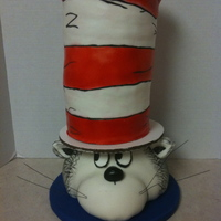 The Cat In The Hat Fondant covered and airbrushed. Hat is layers of cake. Cat's head is rice krispie treats