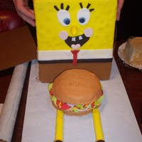 Spongebob Spongebob made out Rice krispy Treats. The crabby patty was butter cream and fondant accents. I wanted to get a picture before I had to...