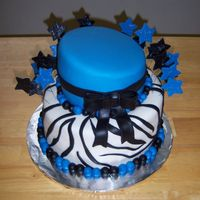 Zebra Topsy Turvy Cake This was a fun cake. It's a whimsical blue, black and white cake decorated with zebra stripes! I covered and decorated the cake in...