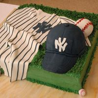 Ny Yankees Grooms Cake This was my first attempt at a baseball hat, baseball, and jersey. I have some room for improvement. I know what do do for my next hat. The...