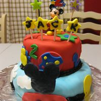 Mickey Mouse Clubhouse Birthday Cake This was the first fondant cake I ever made. I made it for my son's 2nd birthday, he loves Mickey. Bottom layer was confetti cake with...