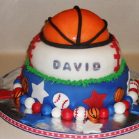 David's Cake My nephew's birthday cake. Bottom layer Devil's Food, second layer Vanilla and the basketball was Devil's Food. Fondant with...