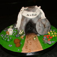 The Empty Tomb Figures and flowers are modeling paste, everything else is MMF. Chocolate fudge cake with cookies and cream BC filling. TFL