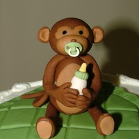 "Baby Monkey Topper for a 8"" baby shower cake. All handmade."