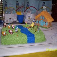 "Snow White Sheet Cake And Cottage I made this for my daughter's 3rd bday. She absolutely loved her ""house cake"" and was thrilled to see Snow White and all her..."