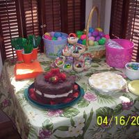 Easter Cakes chocolate raspberry cake, banana cream pie, cheesecake baskets...all very yummy!