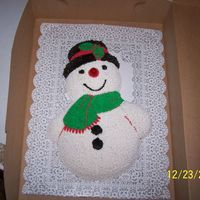 My First Frosty  I made this cake for my parent christmas celebration. I haven't made very many cakes and my parents were pretty impressed with this. I...