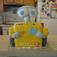 Wall-E  I made this for my son's birthday. It's a chocolate and green checkerboard square cake (I think it might have 4 layers) covered...