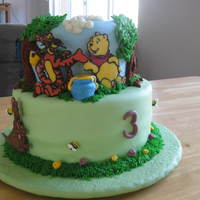 Pooh And Friends In Hundred Acre Woods Here I go again with my 3rd pooh cake three years in a row for my 3-year-old. She asked for a hundred acre wood this time, and many thanks...