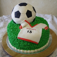 "Soccer Birthday Cake Chocolate cake with buttercream ""grass"" fondant covered soccer ball and jersey"