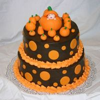 "Halloween Baby Shower Cake  This cake was for a Halloween themed baby shower. I was at a loss when the request came in and the individual specified for me to ""use..."