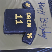 Saints Birthday Cake   Cake I made for my son Drew's 11th birthday! Pound cake with mmf.