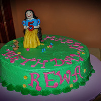 Snow White Birthday  Inspired by ninettaduci'scake.....mine doesn't compare to hers but it was fun to make. Gumpaste/fondant figure and fondant...