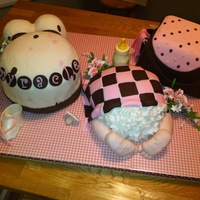 Baby Shower Cake Series of 3 cakes, sculpted for baby girl