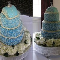 Blue Scrollwork I wish I would have made the different shades of blue a little more contrasting...but I liked this cake =] The little car on top was...
