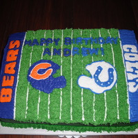 Colts V Bears!   This is a 1/4 sheet cake done completely with buttercream.
