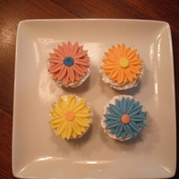 Gerber Daisys!   These are white cupcakes with gerber daisys made out of fondant.
