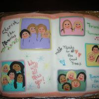 "Scrapbook Cake This was for several coworkers who were retiring. The cake is covered in fondant and the ""pictures"" are cutouts of fondant. I..."